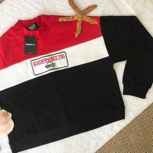 🌹2/$25🌹NWT F21 Corvette Cropped Sweatshirt